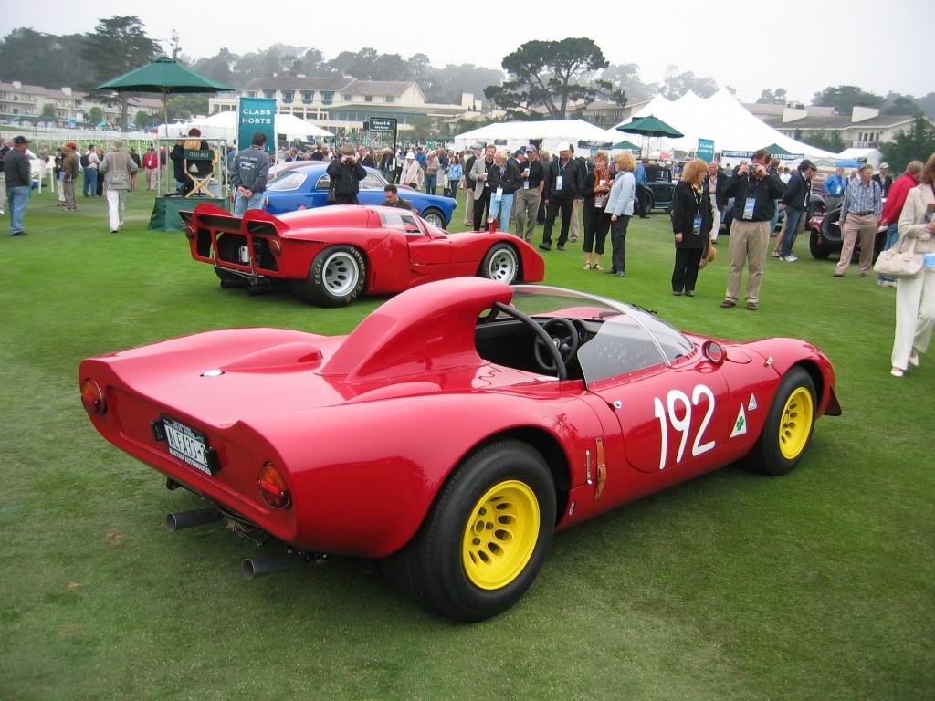 1967 Alfa Romeo 33-2 Spyder and, back, 1970 33-4 Tasman Coupe
